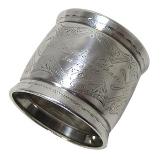 Antique Gorham American Coin Silver Napkin Ring Dated 1876 For Sale