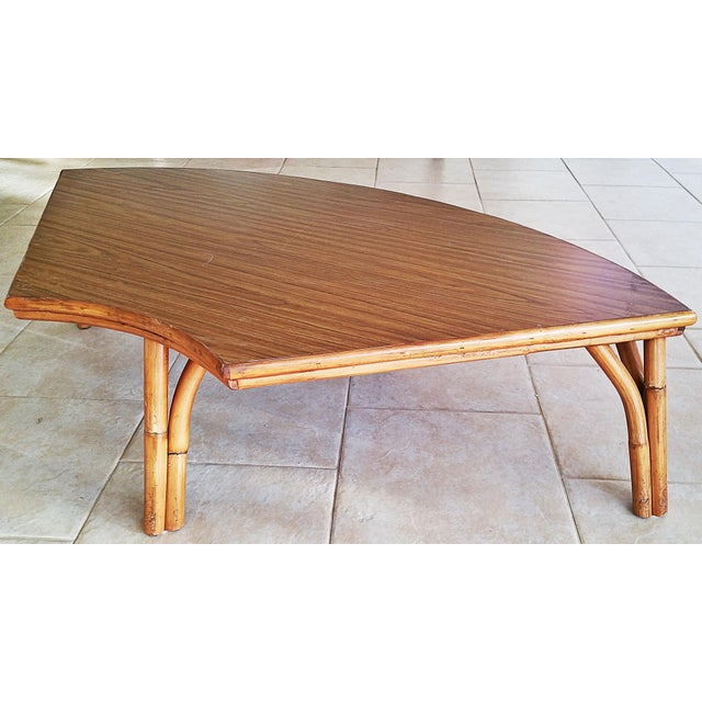 Midcentury Rattan Bamboo Coffee Table For Sale In West Palm - Image 6 of 8