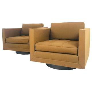 Pair of Harvey Probber Cube Swivel Chairs, Signed For Sale