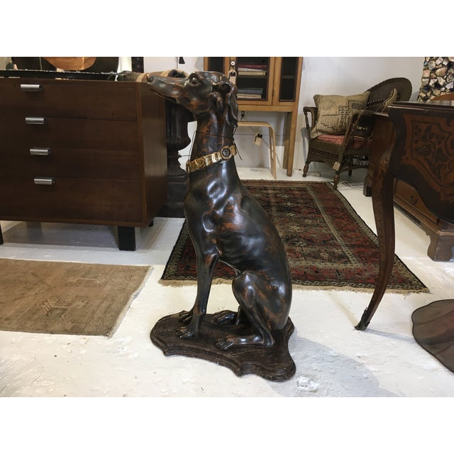 Hollywood Regency Italian Gilt Wood Whippet For Sale - Image 3 of 13