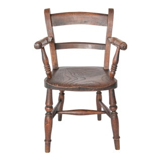Antique English Oak Child's Chair For Sale
