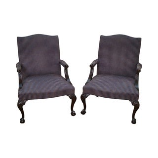 Hickory Chair Mahogany Chippendale Library Arm Chairs - Pair For Sale