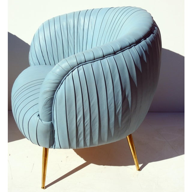Italian Leather Lounge Chairs - A Pair - Image 4 of 7
