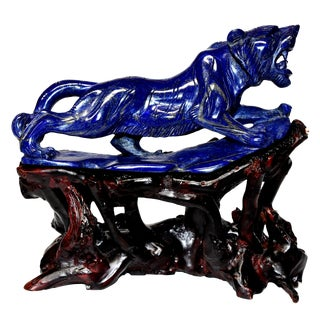 Modern Natural Lapis Lazuli Tiger Sculpture For Sale