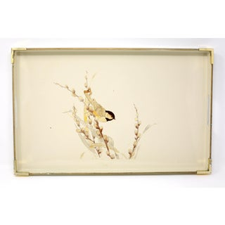 Vintage MCM Otagiri Japan Ecru Lacquerware Tray With Brass Accents and Finch on Pussywillow Preview