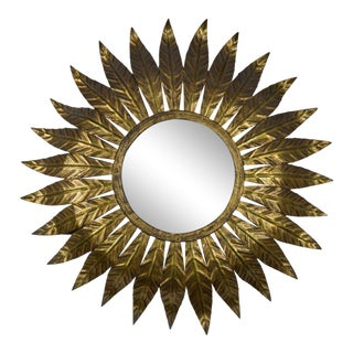 Spanish Gilt Metal Sunburst Mirror For Sale
