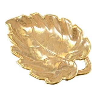 Stangl 22 Kt Gold Over Ceramic Leaf Tray For Sale