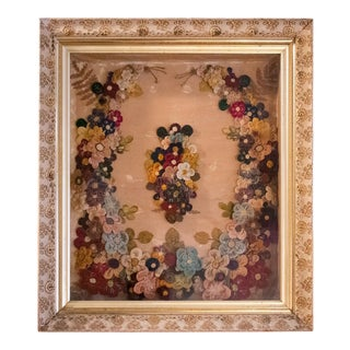 Large Early 20th Century Victorian Shadowbox Flower Art, Handmade For Sale