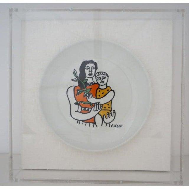 Postmodern Vintage Framed Fernand Leger Porcelain Plates - a Set of 4 Different in Lucite Shadowbox Frames For Sale - Image 3 of 13