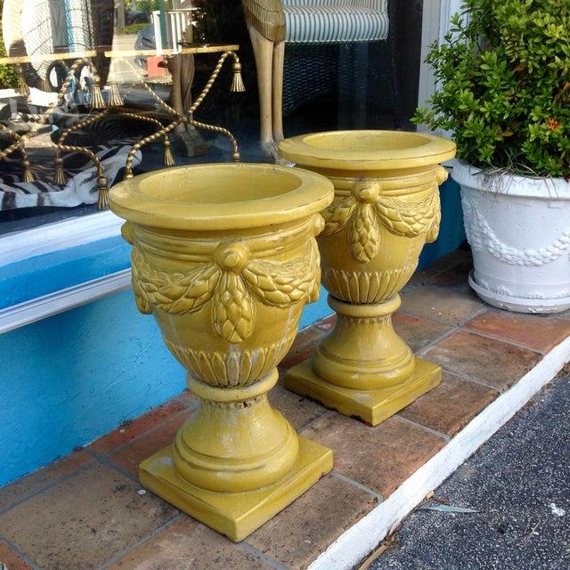 1960s Pair of Massive Glazed Terracotta Garden Urns For Sale - Image 5 of 13
