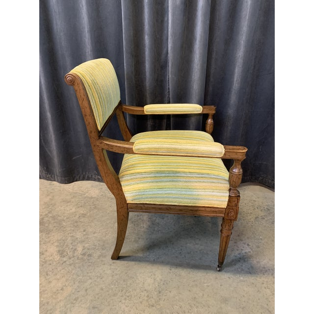Drexel Mid-Century Walnut and Striped Upholstered Drexel Chair For Sale - Image 4 of 10