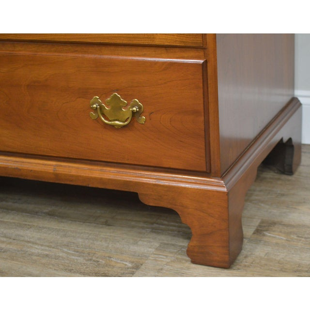 Henkel Harris Vintage Solid Cherry Chippendale Style High Chest on Chest For Sale - Image 12 of 13