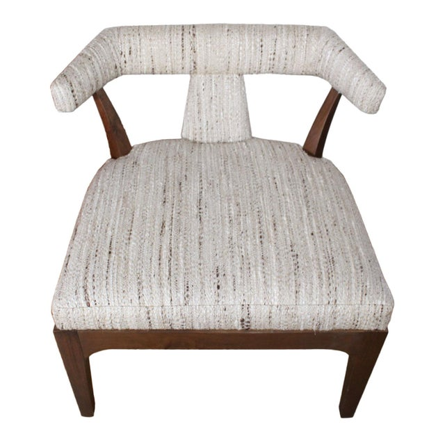 Solid wood Klismos style slipper or side chairs reupholstered in unused vintage fabric from the estate of Phyllis Diller...
