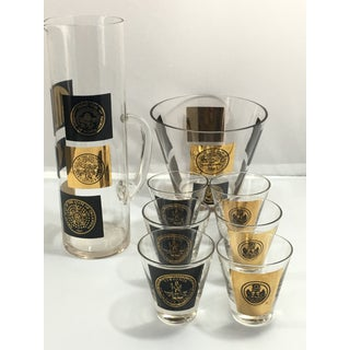 Vintage Mid-Century State Seal Pattern Barware Set - 8 Pieces Preview