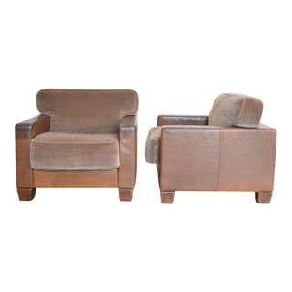 Desede Leather and Mohair Club Chairs For Sale