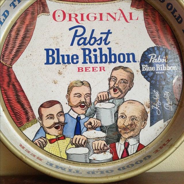 Vintage Original Pabst Blue Ribbon Metal Tray For Sale - Image 4 of 10