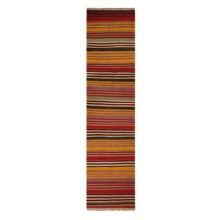 Vintage Bergama Geometric Multicolor Yellow and Red Wool Kilim Rug - 2′9″ × 11′5″ For Sale