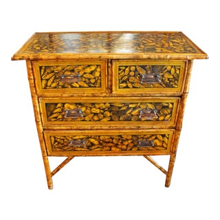 Late 19th Century Bamboo Chest of Drawers Decoupaged With Shells For Sale
