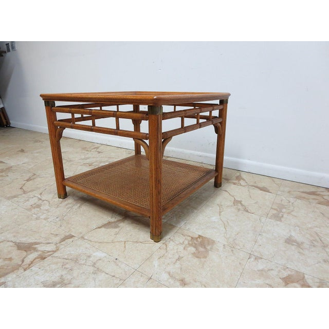 Vintage Mid-Century Campaign Faux Bamboo Carved End Table For Sale - Image 4 of 11