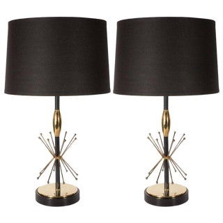 Pair of Mid-Century Modern Atomic Age Brass and Black Enamel Table Lamps For Sale