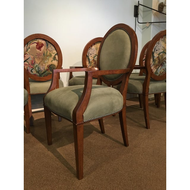 Animal Skin Italian Tapestry & Leather Wood Arm Chairs - Set of 8 For Sale - Image 7 of 10