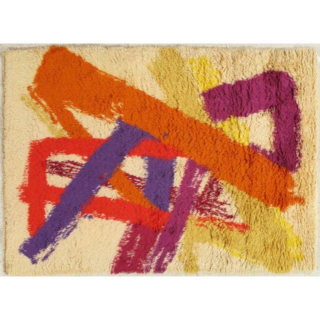 "Vintage Swedish Rya Carpet - 4'6"" x 6'5"" For Sale - Image 9 of 9"