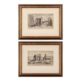 17th Century Étienne Dupérac Etchings of Ancient Roman Ruins - a Pair For Sale