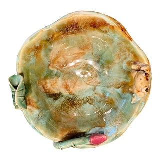 Handmade Ceramic Majolica Frog Bowl, 1960s For Sale