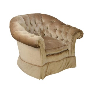 Century Gold Upholstered Tufted Barrel Back Club Chair