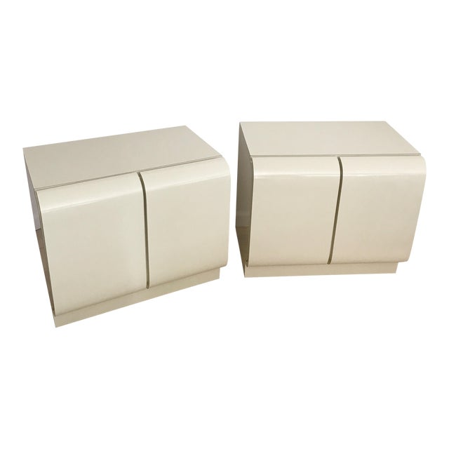 Vintage Waterfall White Laminate Nightstands - A Pair - Image 1 of 9