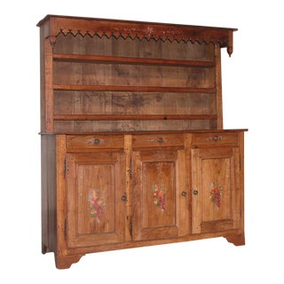 Antique French Country Cherry Wood Cupboard For Sale