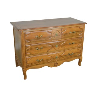 Baker French Louis XV Style Vintage Walnut Chest of Drawers Dresser For Sale