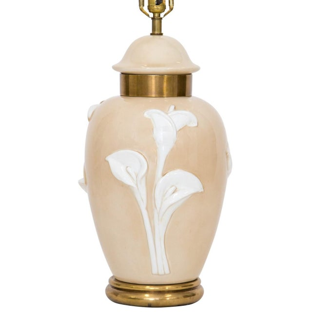 Large Calla Lily Ginger Jar Table Lamp By Chapman On A Brass Base The Porcelain