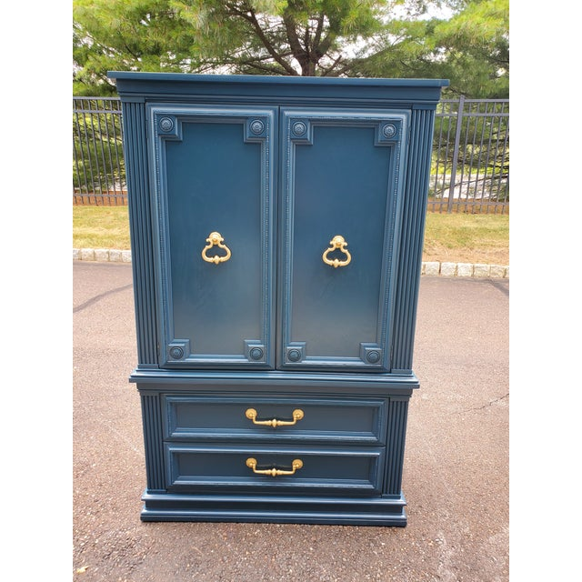 Vintage Moscow Midnight Blue Armoire For Sale - Image 12 of 12