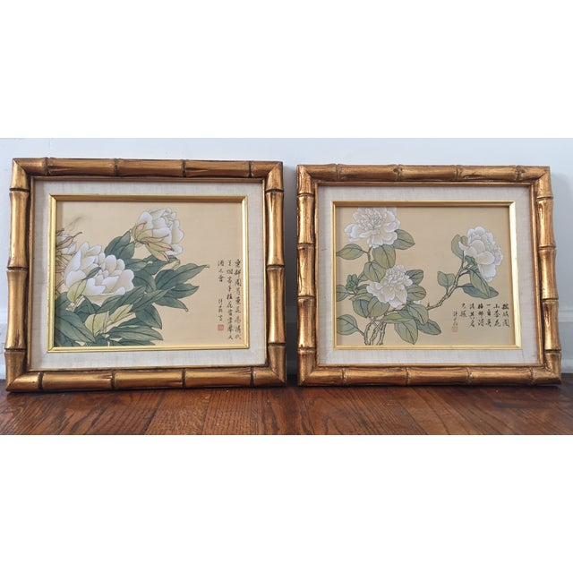 Bamboo Framed Chinese Silk Paintings - Pair - Image 2 of 3