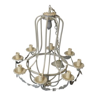 Vintage Gray 8 Light Chandelier For Sale