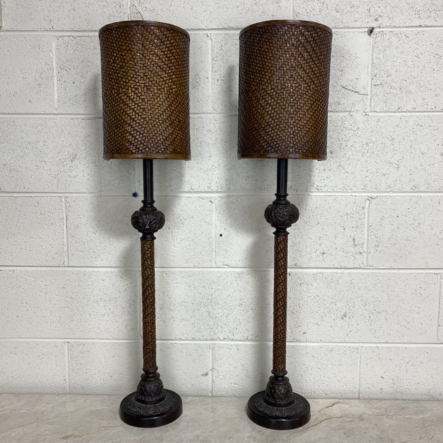 Theodore Alexander Leather Woven Buffet Lamps - a Pair For Sale - Image 13 of 13