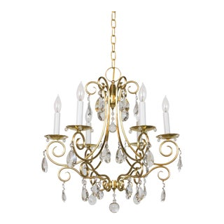 Mid-Century Brass & Crystal Six Light Chandelier For Sale