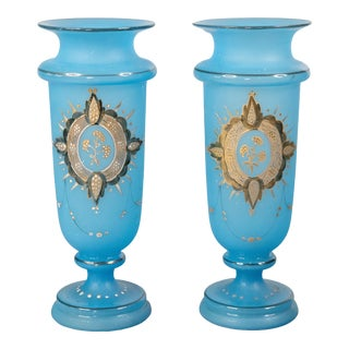 19th Century French Blue Opaline & Gold Vases - a Pair For Sale