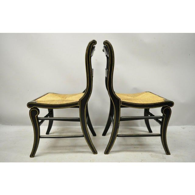 19th Century Antique Hitchcock Style Black Hand Painted Rush Seat Side Chairs - a Pair For Sale - Image 10 of 12