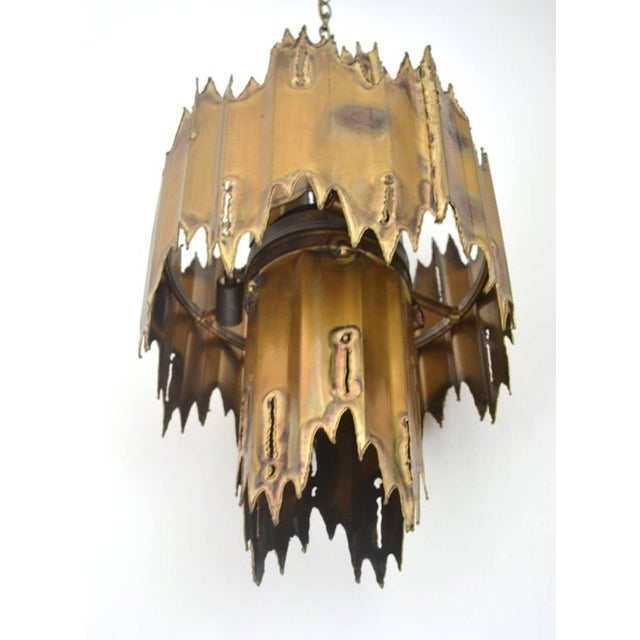 Tom Greene Midcentury Brutalist Torch Cut Chandelier by Tom Greene For Sale - Image 4 of 7