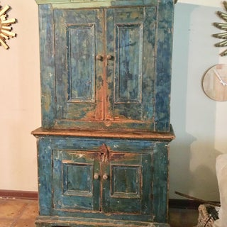 Mid 18th Century Antique Blue Step Back Cupboard Preview