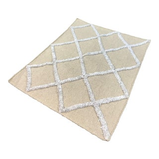 Modern Beige Area Rug With Padding - 2′6″ × 2′11″