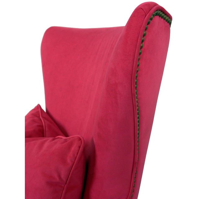 2010s BiltWell Showroom Hot Pink Faux Fur Wing Chair For Sale - Image 5 of 8