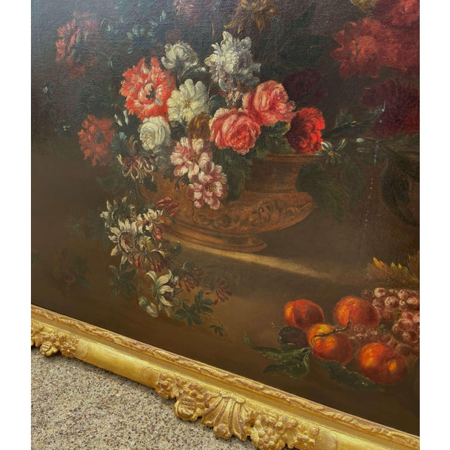 Gold 19th Century French Still Life Flower Oil Painting in Carved Gilt Frame For Sale - Image 8 of 13