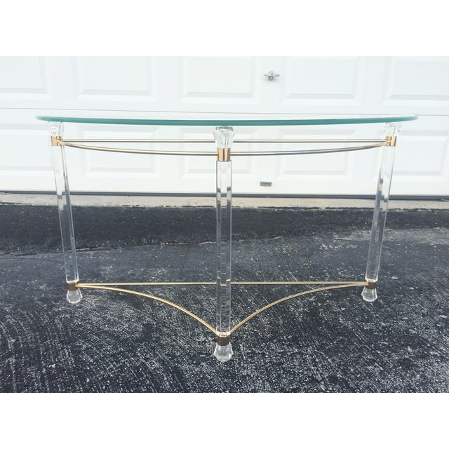 Lucite & Brass Sofa Table - Image 2 of 7
