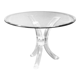 Charles Hollis Jones Style Mid Century Glass Lucite Dining Table by Hill Mfg. For Sale