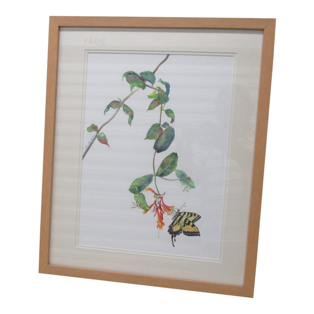 Vintage Watercolor of a Butterfly and Flower by Therese Bartholome For Sale