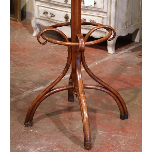 Art Deco Early 20th Century Carved Bentwood Coat Stand With Umbrella Ring Thonet Style For Sale - Image 3 of 6