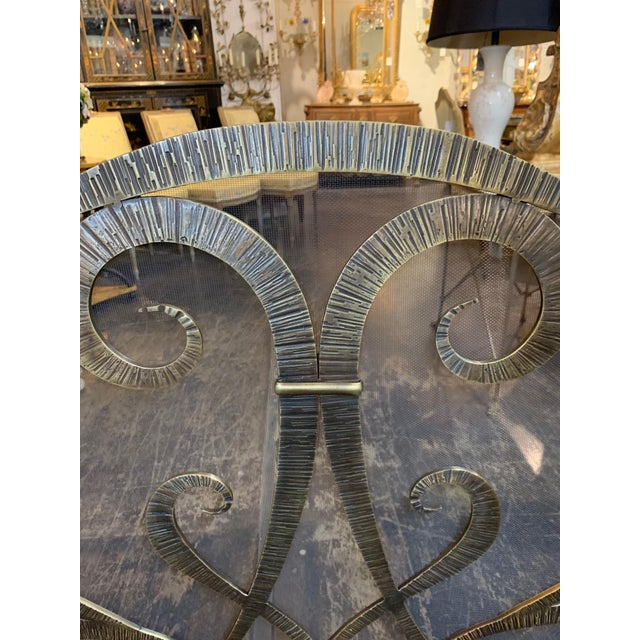 Traditional Custom Steel Fire Place Screen in Gilded Black Finish For Sale - Image 3 of 6